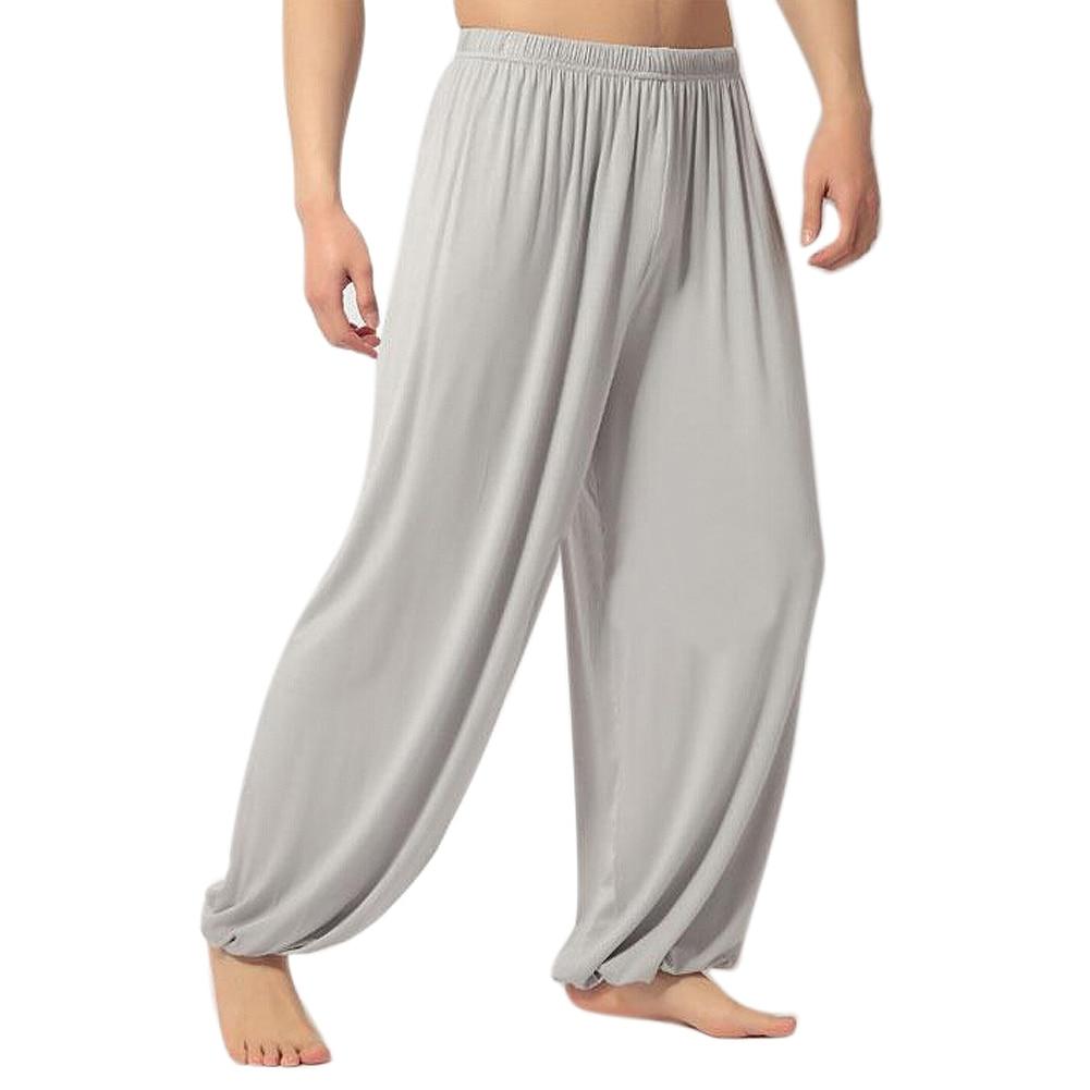 Mens Soft Modal Yoga Pants Casual Solid Loose Sweatpants Trousers Long Baggy Sports Workout Dancing Jogger Pant