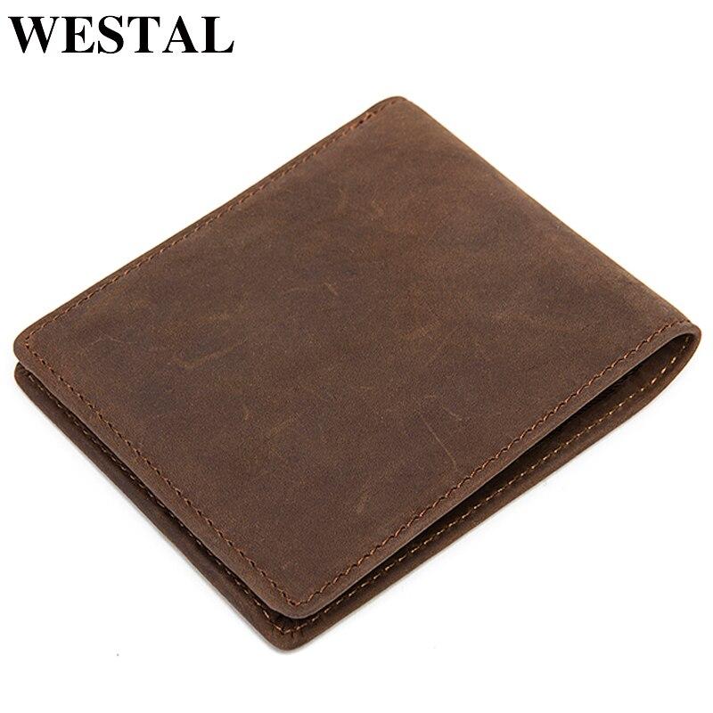 WESTAL Men's Wallet Crazy Horse Leather Purse For Men Credit Card Holder Male Slime Wallet Short Vintage Men's Money Purse  8808