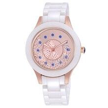 2019 yeni moda basit kristal bayanlar izle seramik kayış su geçirmez çok fonksiyonlu kuvars bayanlar izle bayanlar hediye Reloj Mujer