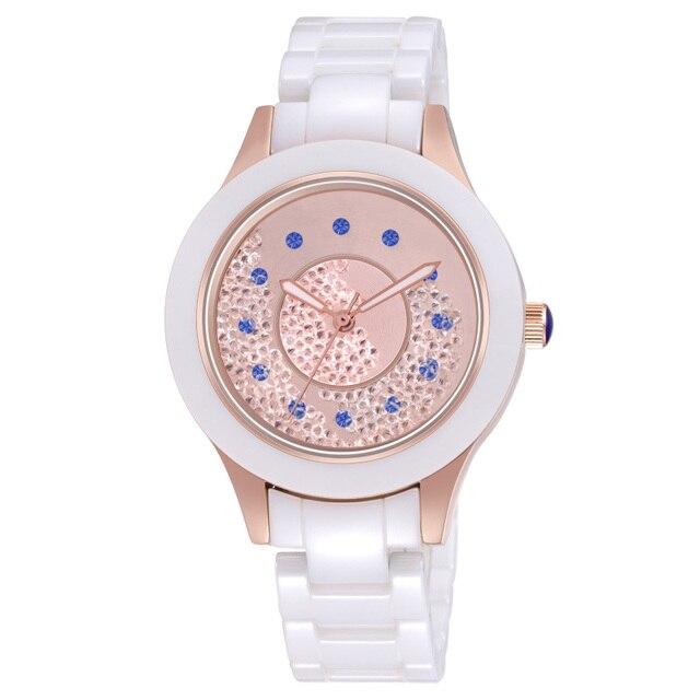 2019 אופנה חדשה פשוט קריסטל גבירותיי שעון קרמיקה רצועה עמיד למים רב פונקציה קוורץ גבירותיי שעון גבירותיי מתנות Reloj Mujer