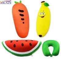 YIKAZE Fruit U Shaped Travel Pillow Nanoparticles Car Neck Pillow Banana Carrot Watermelon Pillows Soft Cushion