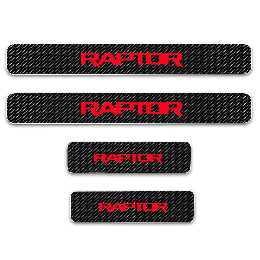 Image 5 - Door Sill Protector For Ford RAPTOR F 150 Carbon Fiber Vinyl Sticker Car Door Sill Welcome Pedal Stickers Car Accessories 4Pcs-in Car Stickers from Automobiles & Motorcycles