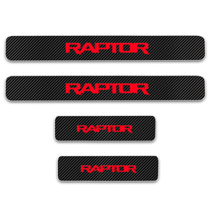Image 5 - Door Sill Protector For Ford RAPTOR F 150 Carbon Fiber Vinyl Sticker Car Door Sill Welcome Pedal Stickers Car Accessories 4Pcs