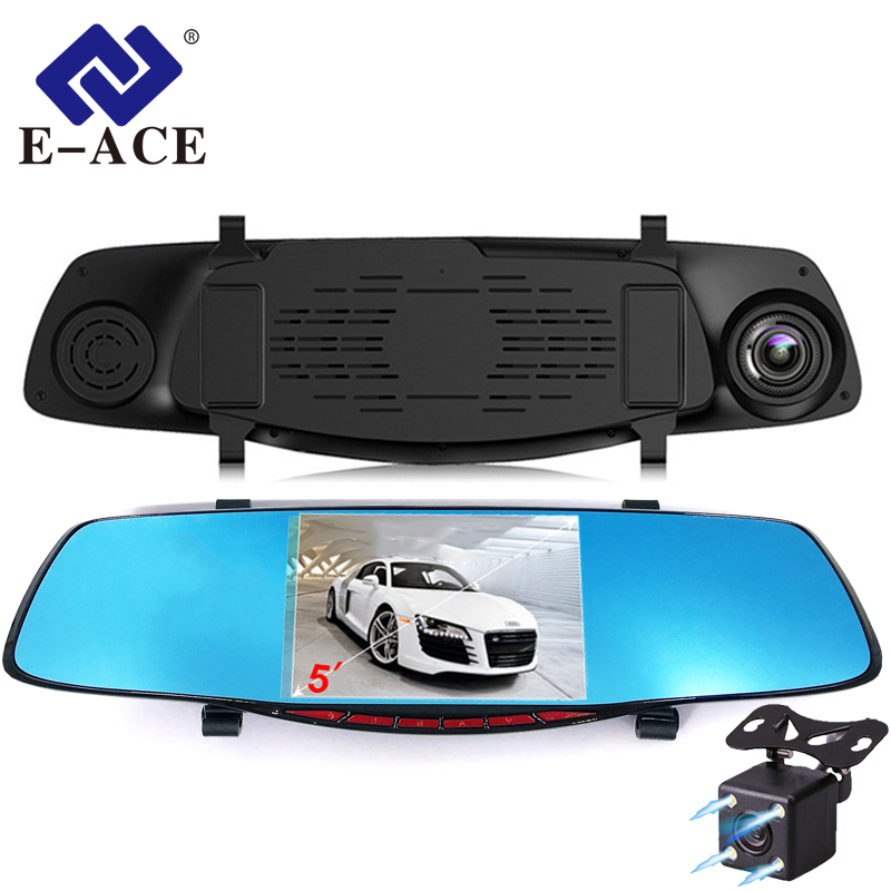 E-ACE Video Registrering Full HD 1080P Bil Dvr-kamera Avtoregistrator Rearview Mirror Video Recorder Dual Lens Dash Videokamera