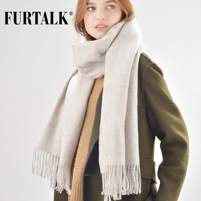 FURTALK wool women winter scarf cashmere pashmina scarves luxury brand for girls SFFW020