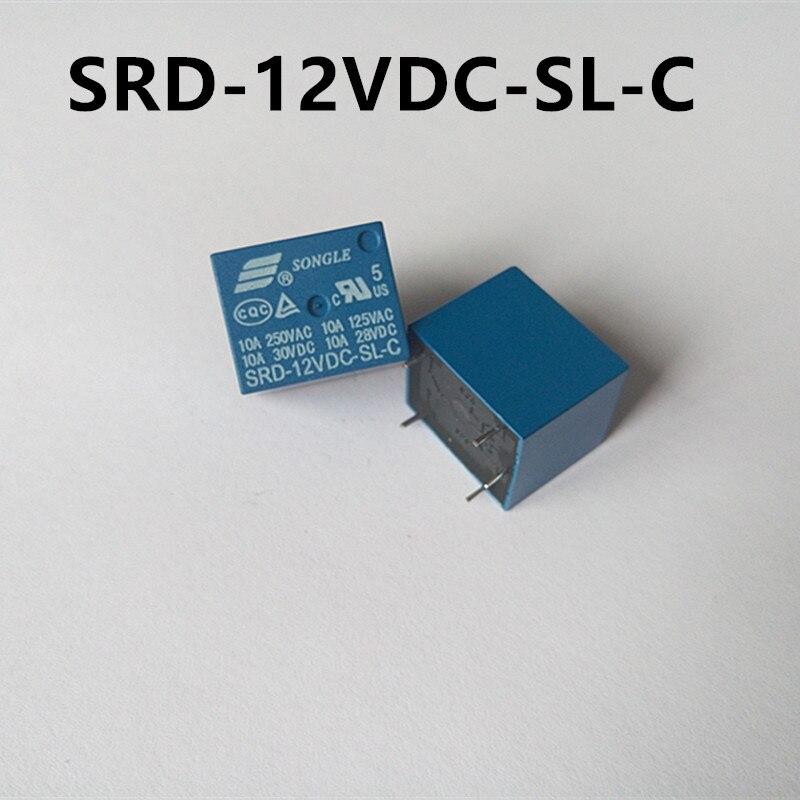 10Pcs Mini 12V DC SONGLE Power Relay SRD-12VDC-SL-C PCB Type