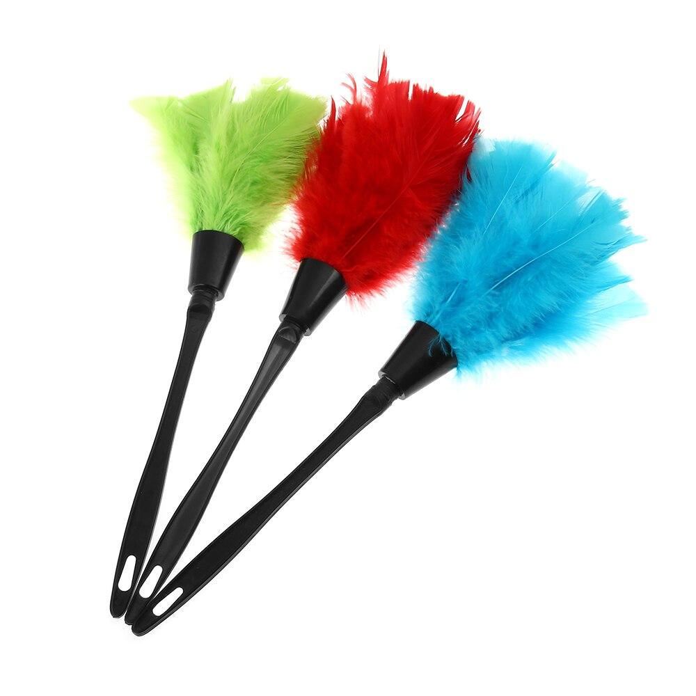 1 PC Multicolor plumero Anti polvo estático cepillo negro mango de plástico plumeros para la limpieza del hogar herramientas clave Bord de limpieza