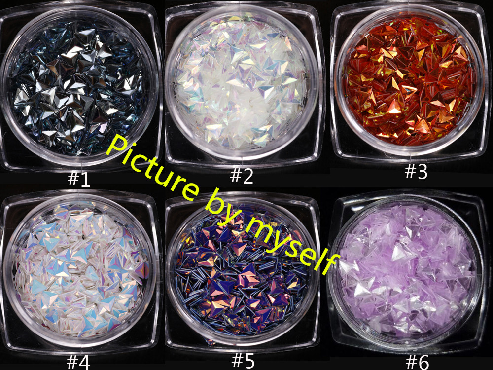 6 Box AB Color Chameleon Unicorn Nail Glitter Sequins Triangle Iridescent Flakes Paillettes 3D Nail Art Decoration UV Gel DIY in Nail Glitter from Beauty Health