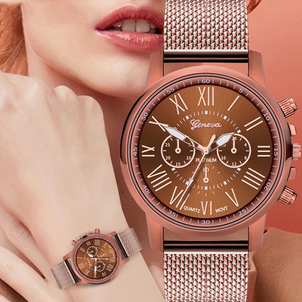 Audacieux Montre à Quartz Cadran échelle Romaine Décontracté En Acier Inoxydable Maille Bracelet Montre Pour Les Femmes De Mode Belle Apparence