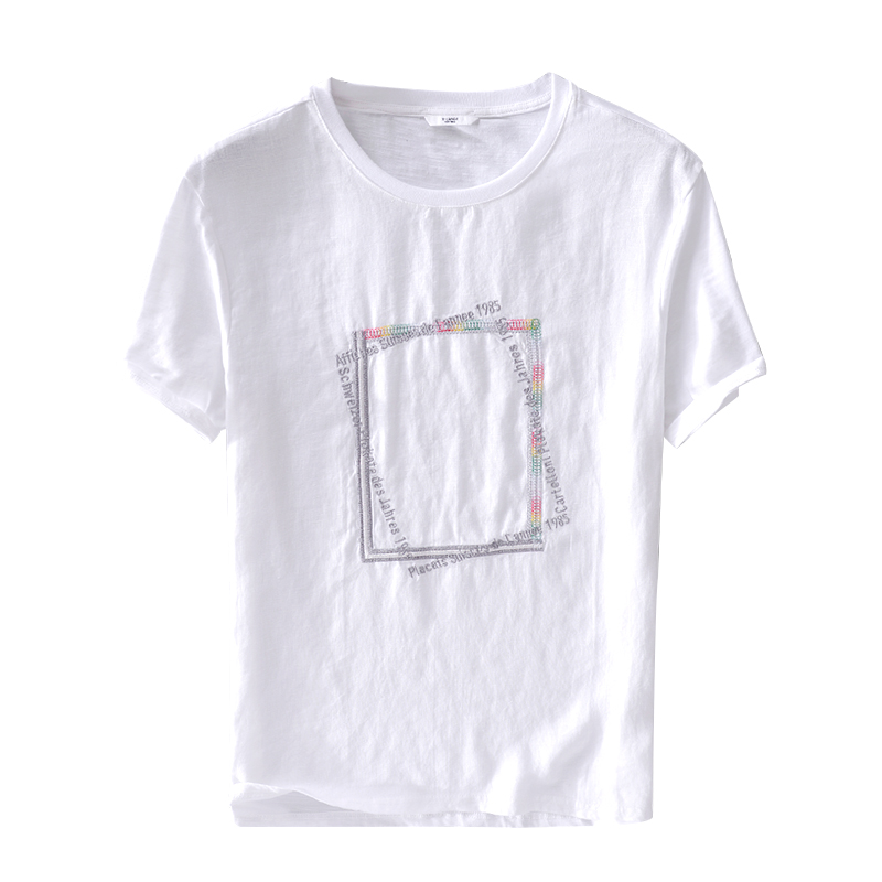 New arrival summer white t shirt men short sleeve linen t-shirt mens fashion casual t shirts male tops embroidery camiseta