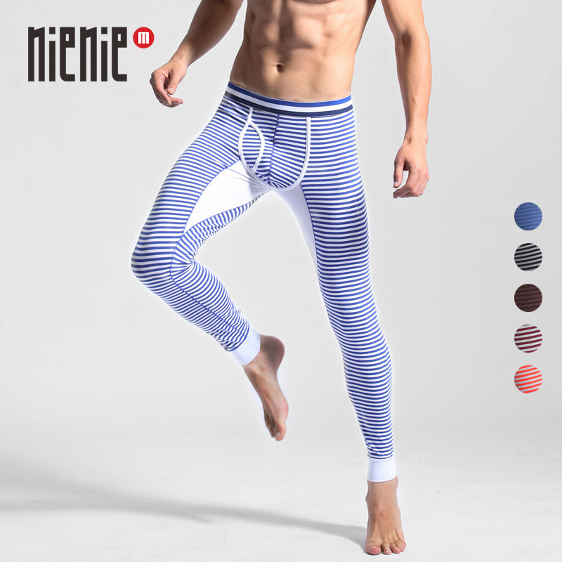 New Men's Long Johns Thermal Underwear Striped Warm Elastic Tights Leggings Winter Autumn Pants Bottoms