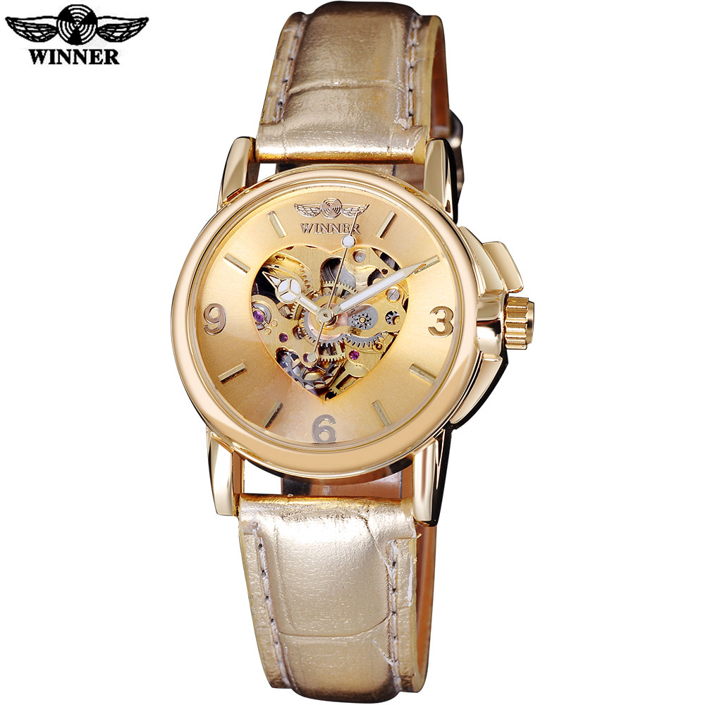 2016 WINNER popular brand women watches luxury automatic self wind watch skeleton dials transparent glass gold case leather band forsining 2016 popular brand men watches simple automatic mechanical watch skeleton white dials gold case stainless steel band