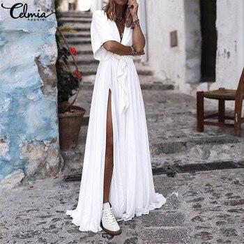 f5ab09ae65aa8 Celmia 2019 летнее богемное платье Для женщин Sexy V Neck Swing Макси  длинное платье Свободные высокой Разделение вечерние рюшами vestidos mujer  плюс ...