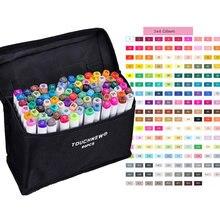 Touchnew 168 cores opcionais artista cabeça dupla álcool, conjunto de marcadores de esboço para manga, desenho, caneta, suprimentos de animação