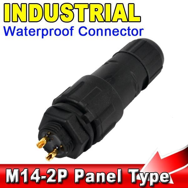 kebidu Waterproof Connector 2 Pin M14 IP68 Panel Mount Cable Adapter ...