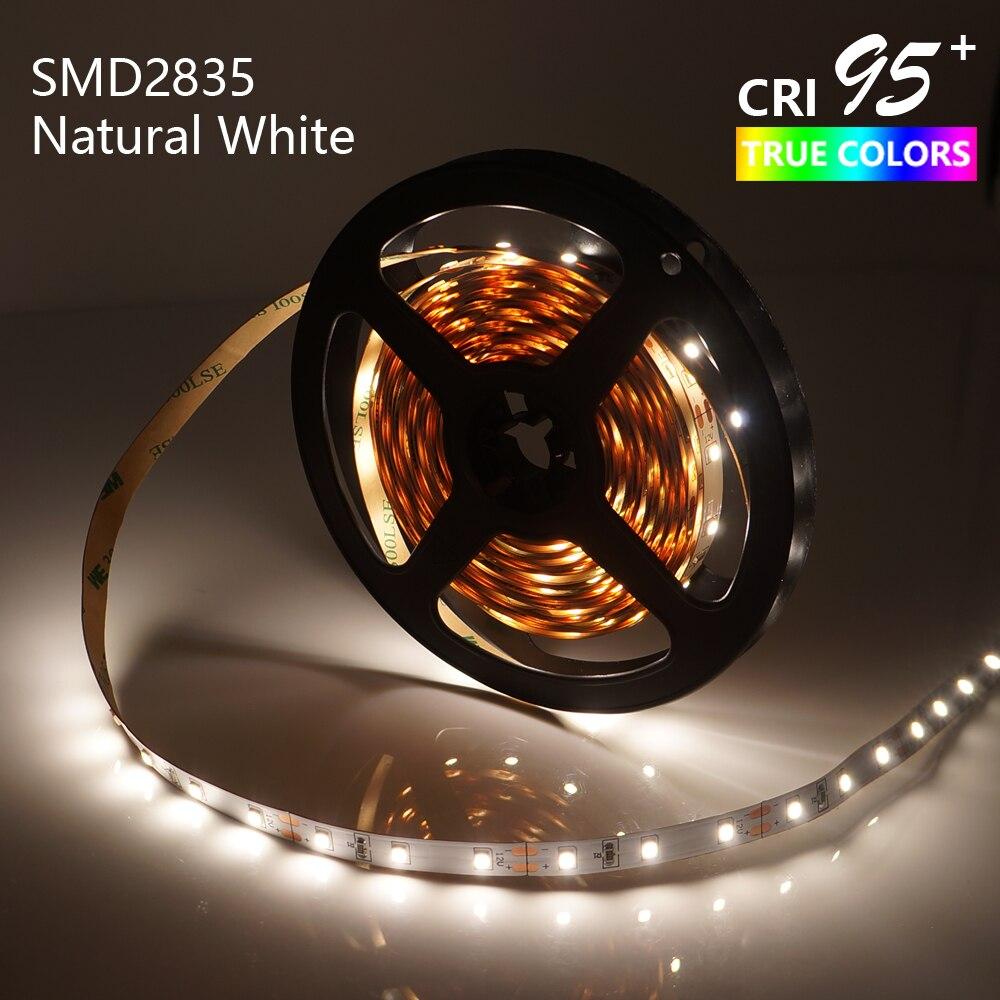 HA CONDOTTO LA Luce di Striscia di Alta Esteso CRI95 Naturale Bianco 4000-4500 k SMD2835 5 m 300 LEDs DC12V 14.4 w dimmable 8mm PCB Non-Impermeabile