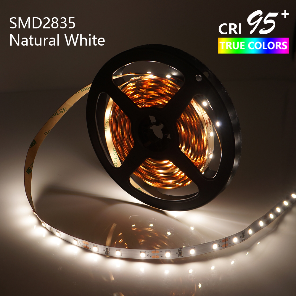 LED Strip Light High Extended CRI95 Natural White 4000-4500K SMD2835 5M 300LEDs DC12V 14.4W Dimmable 8mm PCB Non-Waterproof недорого