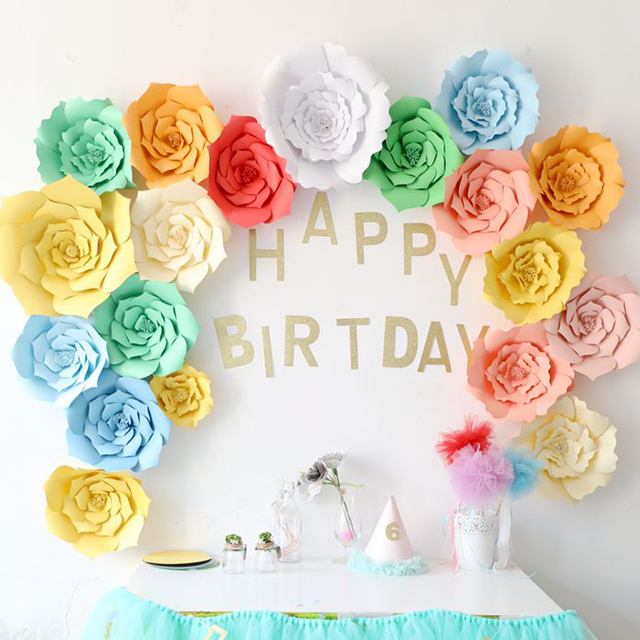 Paper Flower Party Supplies Artificial Backdrop DIY Flowers Backdrops Handmade Wedding Decoration Birthday Decor
