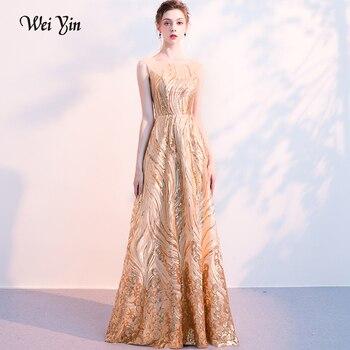 weiyin Women's Sexy Lace Long Evening Dresses Robe de Soiree Longue Formal Prom Party Dress Evening Gown 2018 Vestido De Festa