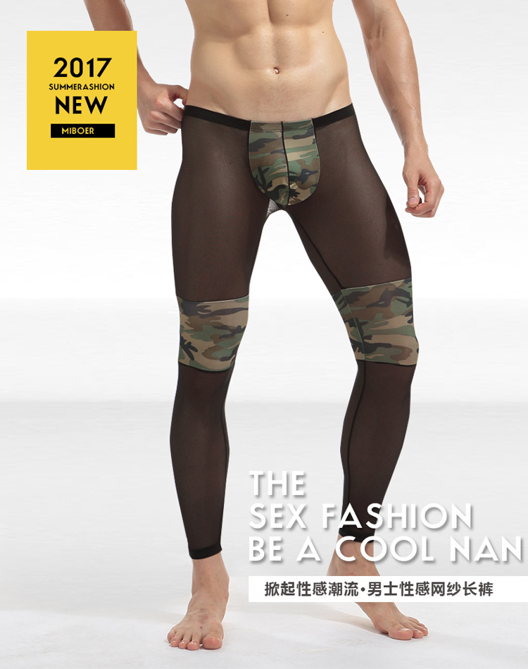 e1dda9709 New brand Sleep pants Mesh LeggingTransparent sexy Camouflage Men s  UnderPants with nylon joggers of Male Trousers long johns-in Sleep Bottoms  from ...