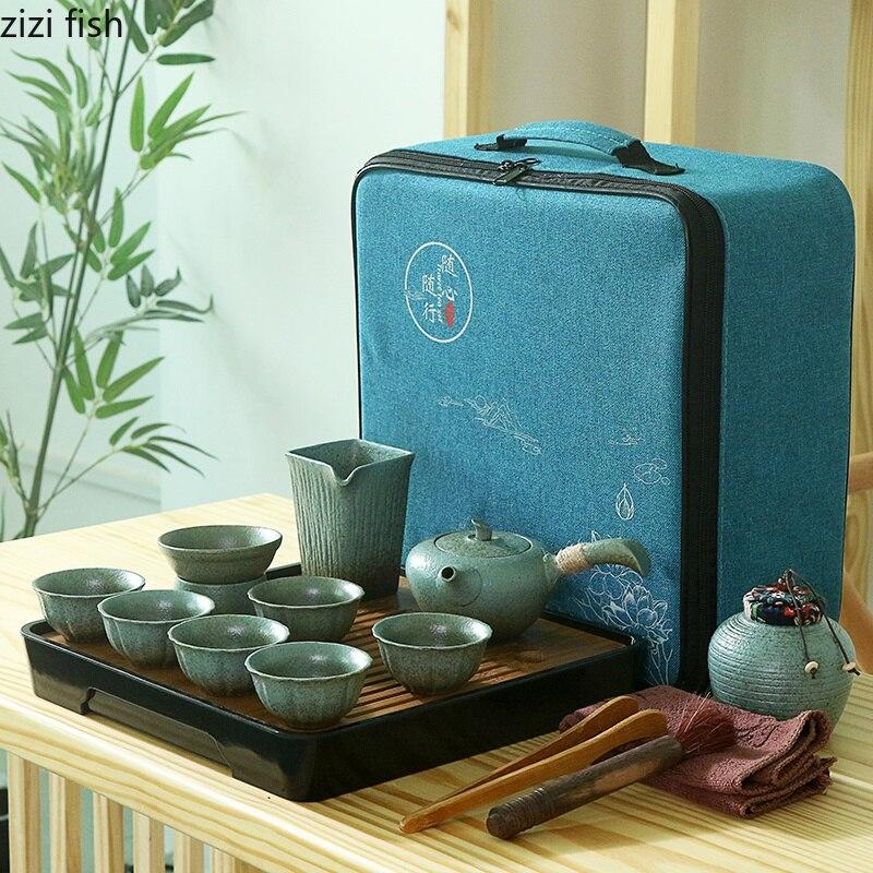 Set de thé de voyage en plein air Portable sac tasse céramique chinois rétro kung fu thé ensemble thé cérémonie ensemble accessoires de décoration de la maison