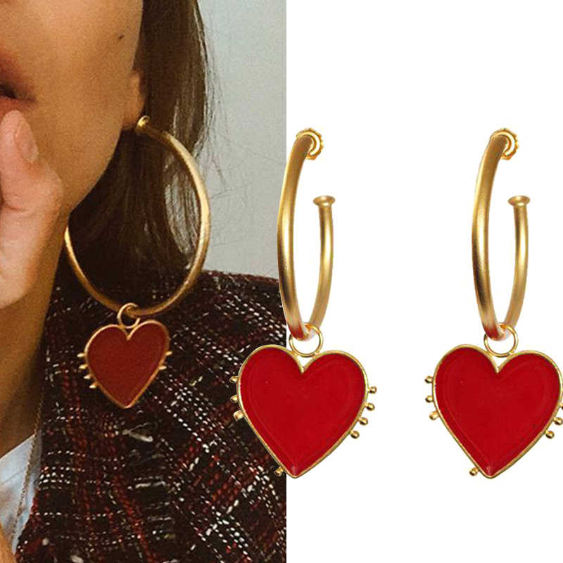 2019 Latest Fashion Jewelry Copper Vintage Gold Big Hoop Earrings With Red Heart Charm Lady's Street Style Statement Earring