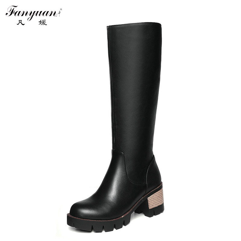 ФОТО New 2017 Autumn/Winter Women's Riding Equestrian Boots Zip Square Heel Black Boots Female's Round Toe Solid Mid-Calf Boots