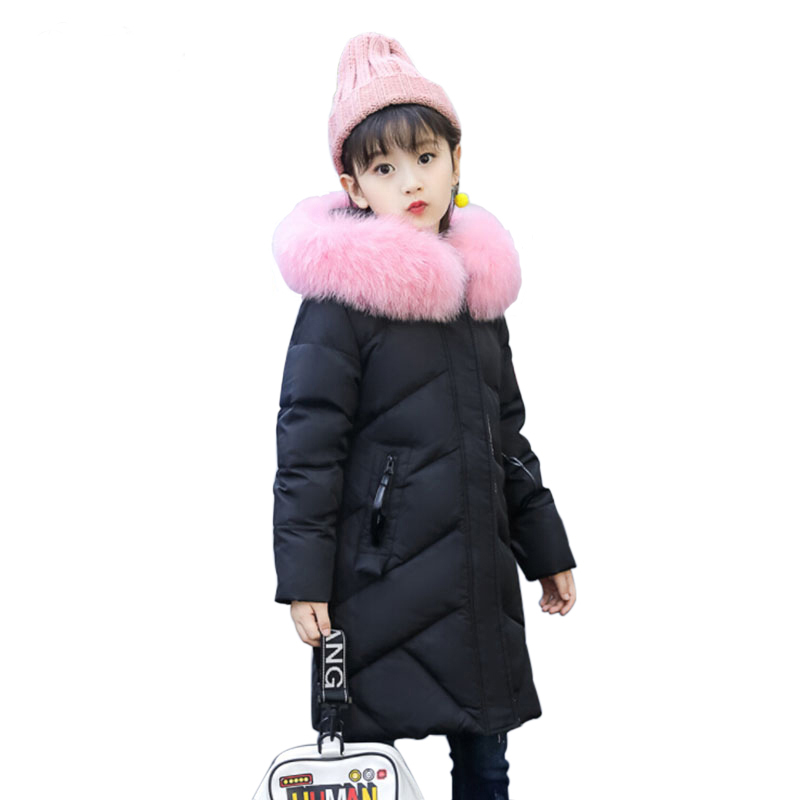 Children's Clothing Girls Winter Down Jacket New 2017 Baby Kids Long Fur Hooded Outerwear Little Girls Warm Padded Cotton Coats fashion girls fur coats 2017 new baby girls pu leather faux fox fur motorcycle jackets winter warm kids outerwear coats
