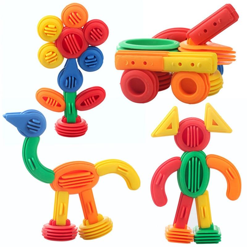 Levendig 3d Bouw Speelgoed 50 Stuks Kids Grappige Plastic Bouwstenen Educatief Speelgoed Baby Diy Bullet Ontwerp Grappig Bakstenen Voor Kinderen