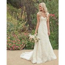 2016 Elegant White Lace Little Mermaid Vintage Wedding Dress Charming Custom Made Cap Sleeve Bridal Gown Vestido De Novia