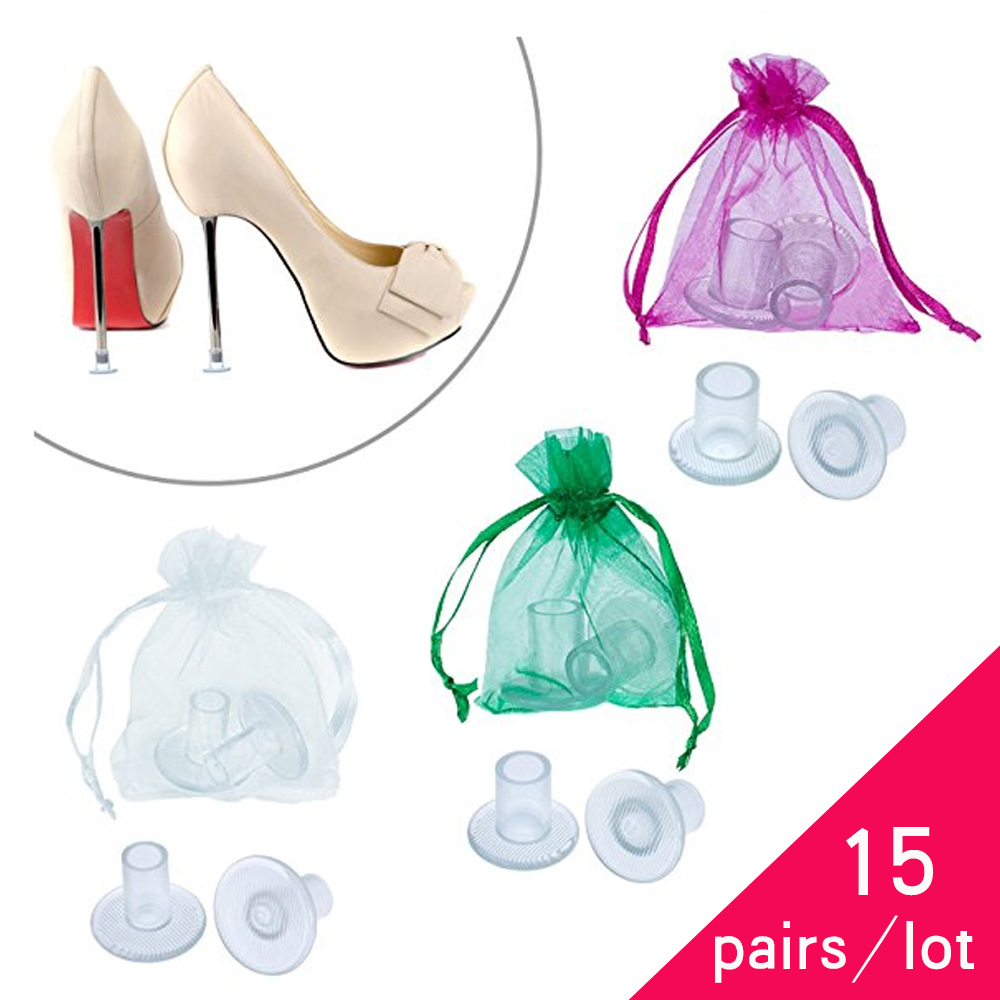 15 Pairs / Lot High Heeler Latin Stiletto Shoes Heel Covers Cap Heel Stoppers Antislip Heel Protectors for Bridal Wedding Party цена