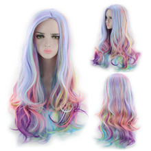Hot Selling Adjustable Women Long Curly Multi-Color Charming Full Wigs For Cosplay Girls Party or Daily Use Gift Dropshipping
