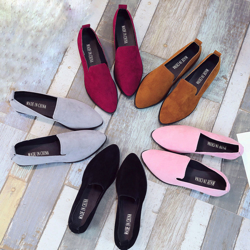 2019 Spring Women Loafers Flats Shoe Women Casual Shoes Suede Slip On Boat Shoes Female Shoe Comfortable Ballet Flats Size 35-40(China)