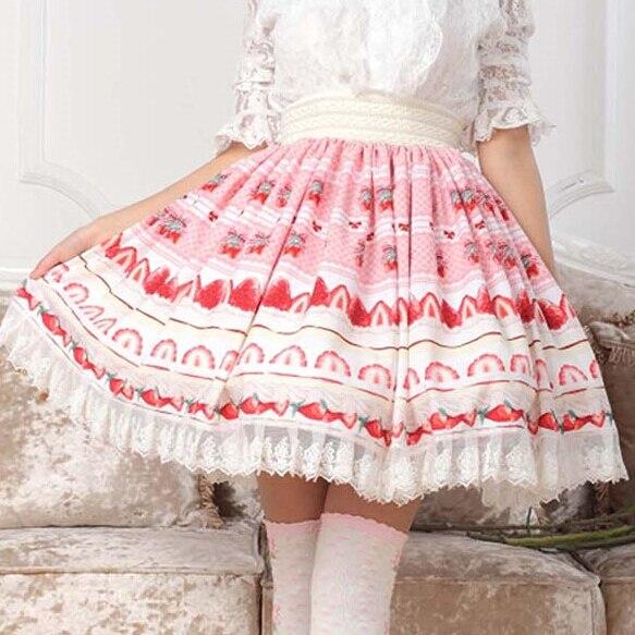 Women/'s Cherry Chiffon Skirt Underskirt Lolita Solid Pink Sakura Bowknot