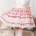 XS-XL Fresh Strawberry Print Skits Pink Lolita Kawaii Cake SK Lady Pleated Lace Skirt Lolita Cosplay Women Japan Fashion Skirts
