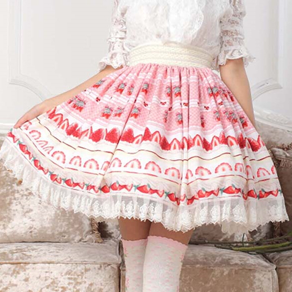 XS-XL Fresh Strawberry Print Skits Pink Lolita Kawaii Cake SK Lady Pleated Lace Skirt Lolita Cosplay Women Japan Fashion Skirts