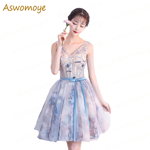 Aswomoye Elegant Short Evening Dress 2018 New Sexy V-neck Special Occasion  Dresses Prom Party Dress Backless robe de soiree a3abd50ac556