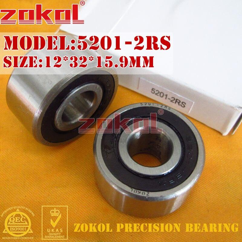 ZOKOL bearing 5201 2RS 3201 2RZ (3056201) Axial Angular Contact Ball Bearing 12*32*15.9mm zokol bearing 5317 2rs 3317 2rz 3056317 axial angular contact ball bearing 85 180 73mm