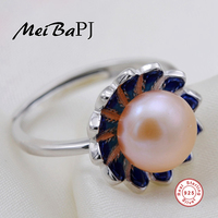 MeiBaPJ Freshwater Pearl 925 Sterling Silver With Colour Lotus Open Ring Finger Jewelry For Women