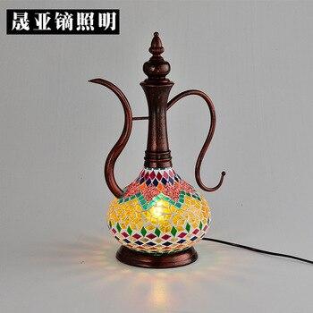TUDA 18X40 cm envío gratis tetera en forma de lámpara de mesa vitral pantalla lámpara de mesa para sala de estar decoración del hogar lámpara de mesa de E27