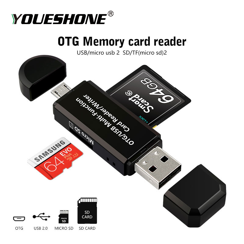 RSExplorer OTG Card Reader Adapter High speed USB 2.0 Flash Drive Universal OTG TF/SD Card Reader for Android phone Computer-in Card Readers from Computer & Office