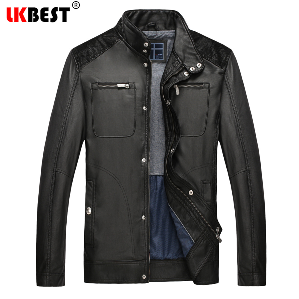 LKBEST 2018 Winter Leather Jacket Men Warm Mens washed Leather coat casual Motorcycle Jackets Coat Outdoors parka (PY46)