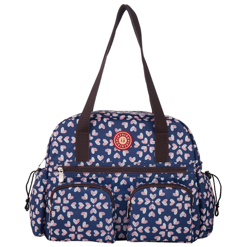 ABWE Best Sale insular Floral Printing Baby Diaper Bag Fashion Multifunctional Nappy Changing Bag Tote Bag Blue