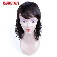 Allrun 헤어 제품 페루 자연 웨이브 12 인치 블랙 여성 자연 색상 인간의 머리