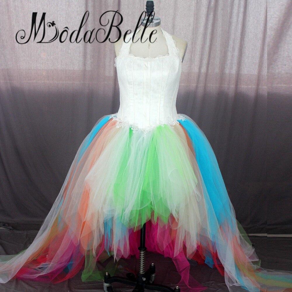 Buy short front long back trouwjurk 2017 for Halter wedding dresses with color