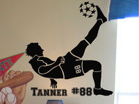 Soccer Player Wall Sticker Vinilos Home Decoration Accessories Boy Stars Football Custom Name Decal Poster Wall Decal DIY SYY043