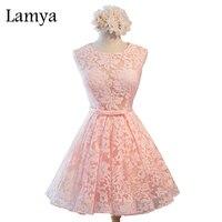 Lamya sexy otwórz powrót wstążka koronka prom dresses 2017 rocznika różowy party dress real zdjęcia plus rozmiar tiul suknia balowa