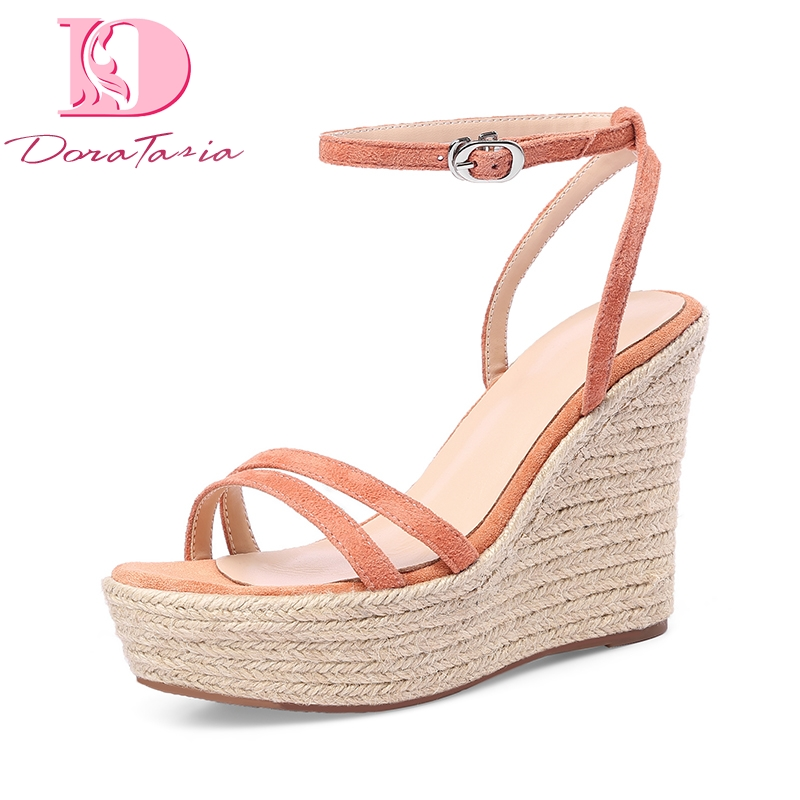 DoraTasia 2018 Kid Suede Genuine Leather Wedges High Heel Woman Shoes Party Buckle Sweet Women Shoes Summer Sandals genuine leather women sandals rural sweet style women shoes butterfly beading crystal wedges shoes high heel sandals dress shoes