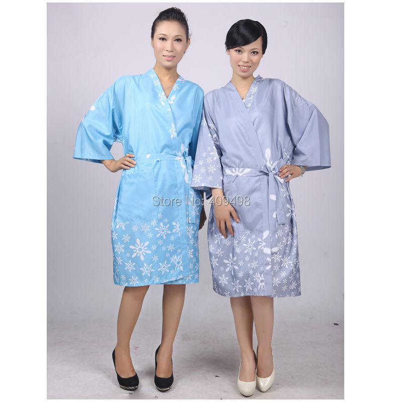 A013 Blue Grey Salon SPA Client Robes Gown with Belt Hair Cutting ...
