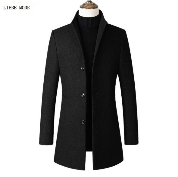 Korean Brand High Quality Wool Grey Red   Trench   Coat Men Autumn Winter Mens Woolen Overcoat Stand Collar Black Long Windbreaker